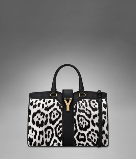 Check out Small YSL Cabas Chyc with Strap in White \u0026amp; Black Leopard ...
