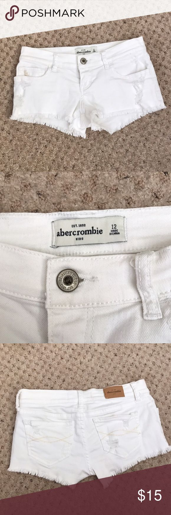 Abercrombie Kids White Distressed Shorts Abercrombie kids white distressed shorts size 12 in great condition!    🚫No trades or modeling  📦Same/next day shipping abercrombie kids Bottoms Shorts
