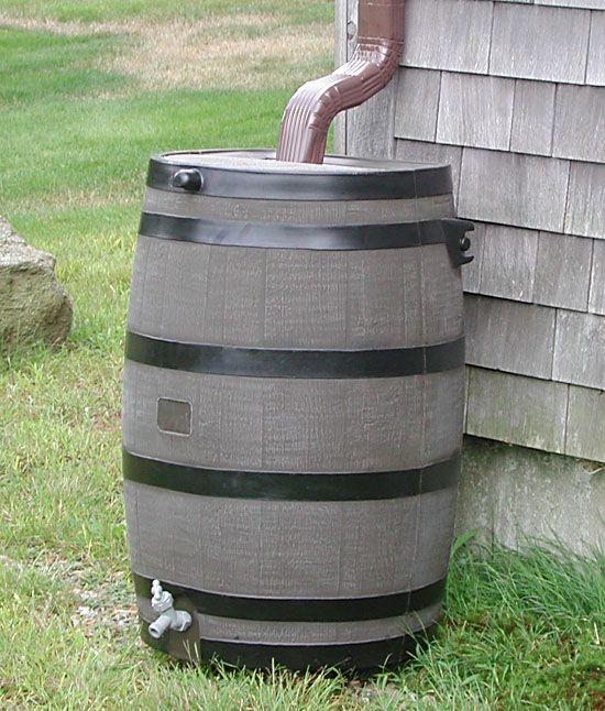 Plastic Rain Barrel Made To Look Like Wood