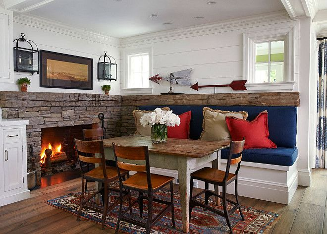 Planked Walls Rustic Table Stone Fireplace Built In Bench Window To Mud Roomlove This Dining Area Renovated Stucco Home