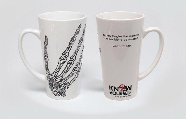 Limited Edition Porcelain Etched Hand Bone Typography Mug
