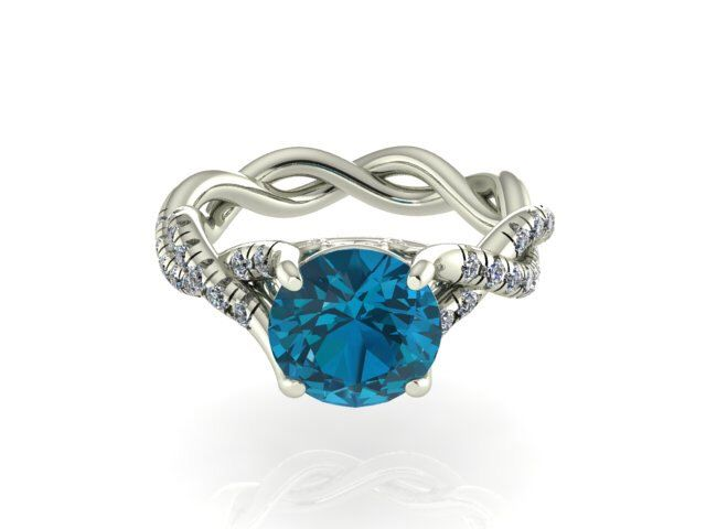 BRIDAL  DIAMOND  RINGS WEDDING  DIAMOND  RING Natural High Quality Diamonds and Genuine Natural Round London Blue Topaz Stone, Braided Classic Bridal Ring by BridalRings on Etsy https://www.etsy.com/listing/215542010/natural-high-quality-diamonds-and