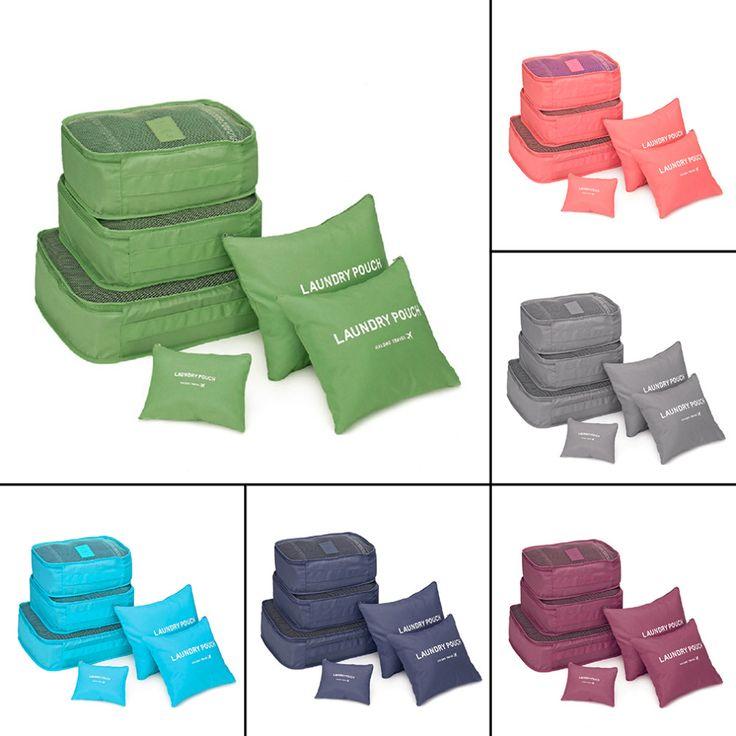 6 Unids/set Travel Bolsa de Almacenamiento de Equipaje Caja Almacenaje De la Ropa Organizador Bolsas de Cosméticos Portátiles Sujetador Bolsa de la Ropa Interior 6 Colores