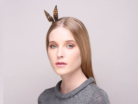 Black & Gold Alice Band Alice Band With Ears by JustineHats>> Winter Sale only 35$