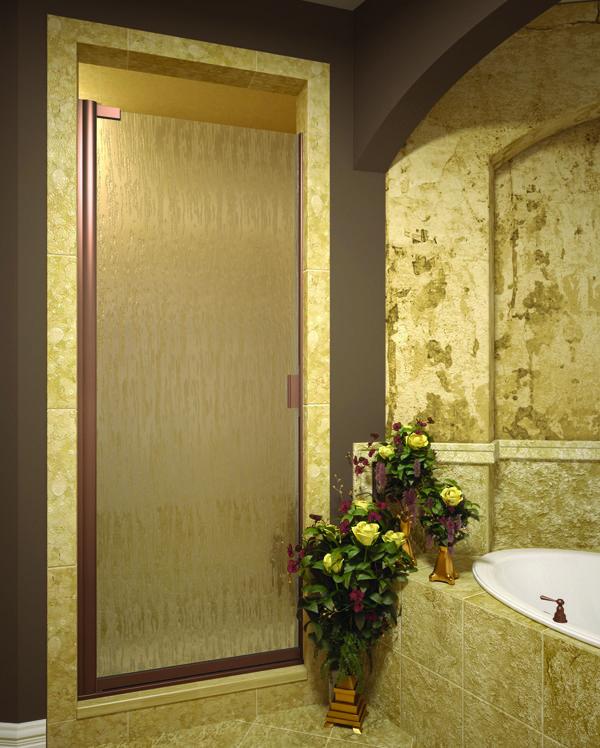 classic single swing rain glass burnished copper finish shower