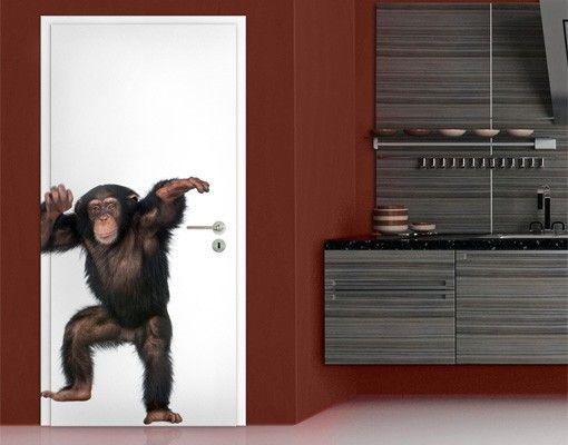 TürTapete Vergnügter Affe