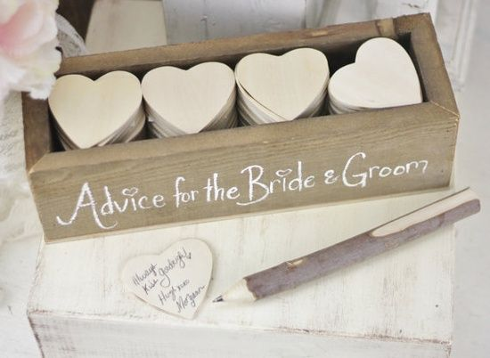 Advice for the bride and groom, this is so cute. Choose your container, rustic, glass or glitter, heart paper can be your preference as well with a vase for guests to drop comments in! Destination Weddings.travel Your DOC and Destination Wedding planner