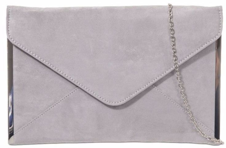 A Grey faux suede slim envelope style clutch bag shoulder bag with silver tone trim to the side The bag fastens with a flap over the top and a