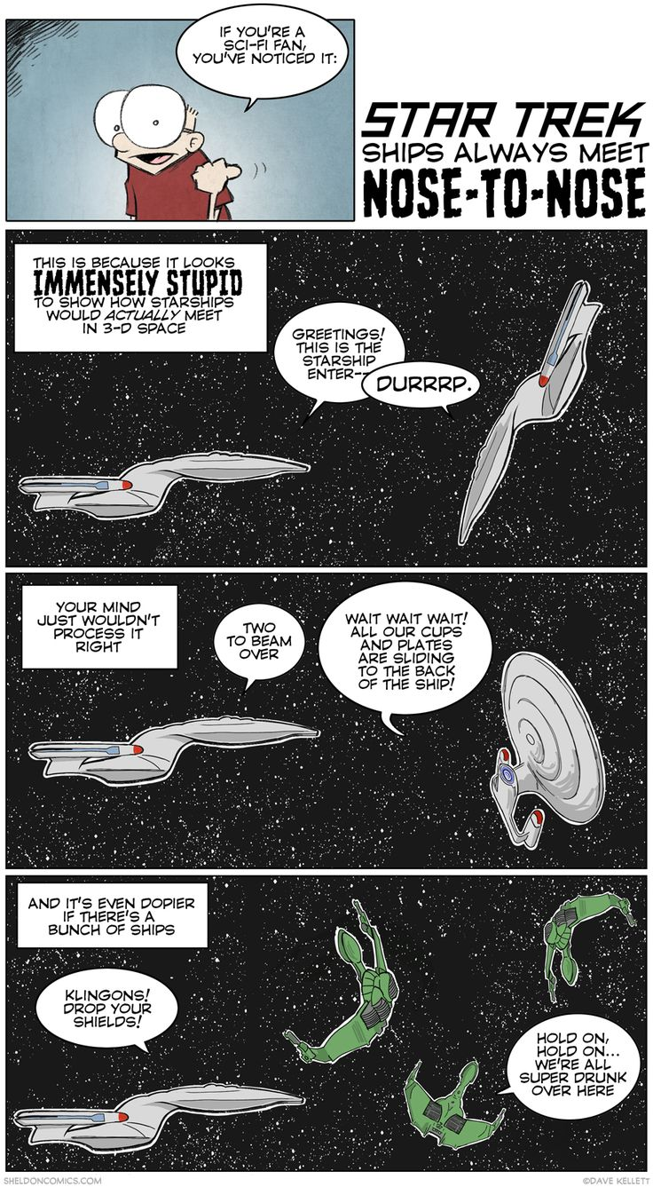 strip for April / 23 / 2015 - Why Star Trek Ships Always Meet Nose-to-Nose @theophany