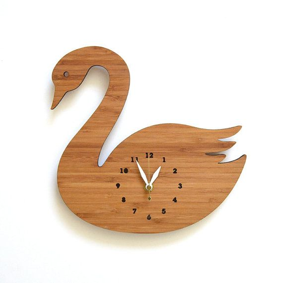 Swan Wall Clock Kids Room Decorative Room Decor for by decoylab, $70.00