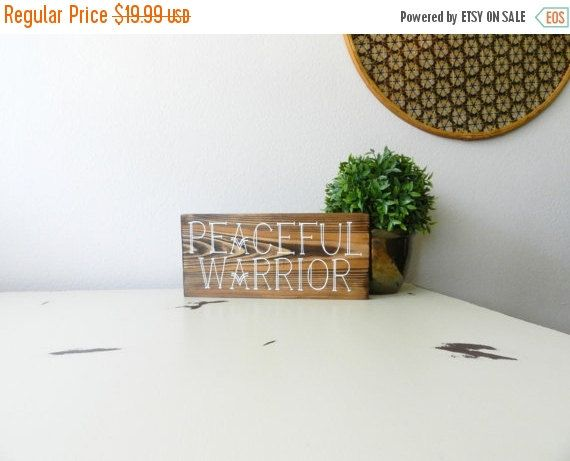 ON SALE Peaceful Warrior Wood Sign - Hippie Home Decor - Peace Sign - Entryway Decor - Spiritual Wall Art - Peace Love Happiness - Quote