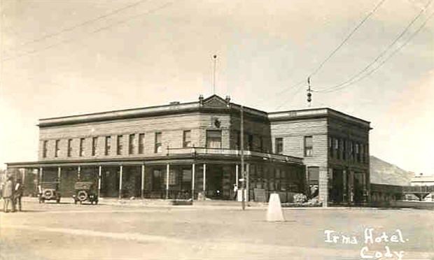 A great old photo of the Irma Hotel in Cody, Wyoming. It was named for Buffalo Bill's daughter - and Shelby attends the party held to celebrate its opening.