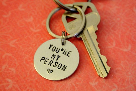 You're My Person Key Chain Grey's Anatomy Quote Love Aluminum Circle