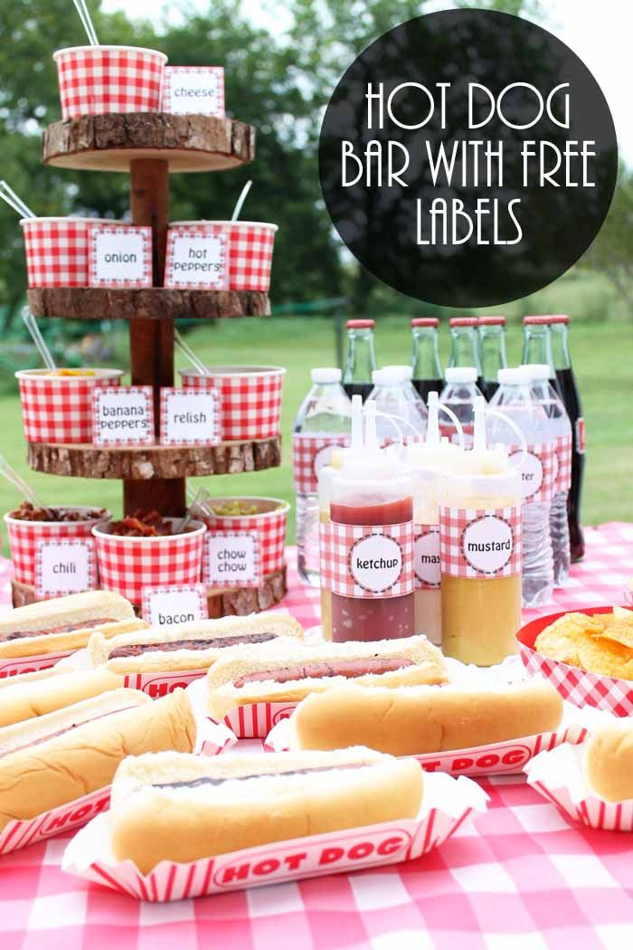 Party Food Ideas on a Budget: Hot Dog Bar – The Country Chic Cottage – DIY, crafts, recipes, home decor, farmhouse style