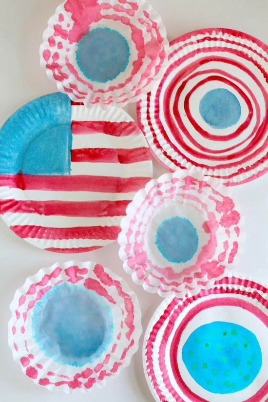 Fourth Of July Craft Ideas For Kids Part - 37: Watercolor Paper Plates With An American Flag For The 4th Of July