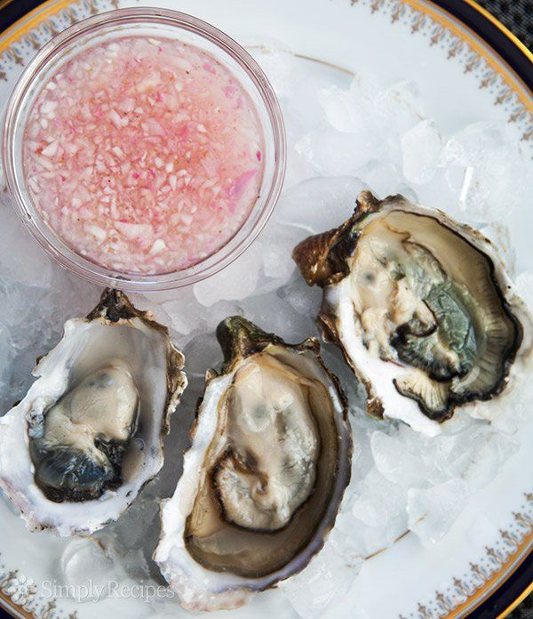 Mignonette Sauce for Oysters ~ A classic accompaniment to raw oysters, mignonette sauce made with shallots, vinegar, and white pepper. ~ SimplyRecipes.com
