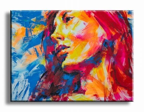 Vrouwen kunst schilderij met kleurrijk geschilderde vrouw