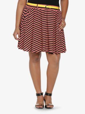 Striped Challis Skirt