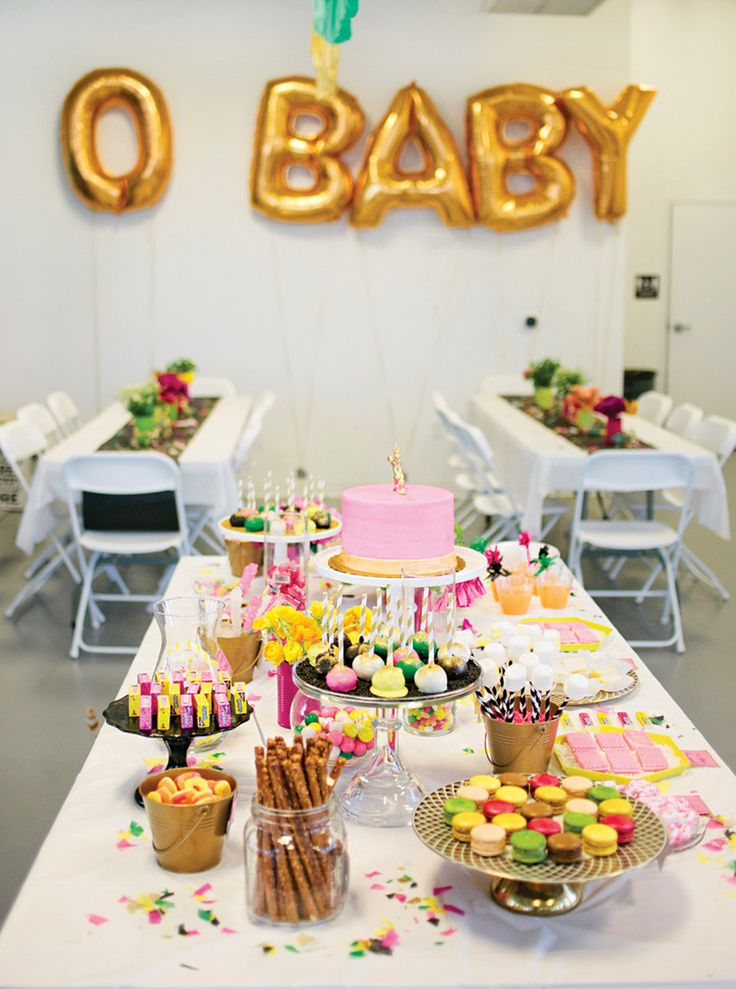 Bright Amp Quirky Gold Unicorn Baby Shower Party Themes