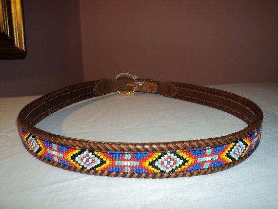 Indian Beaded Belts for Women   BEAN Indian Beaded Bead Leather Belt 38 Mens Ladies Unisex Western ...