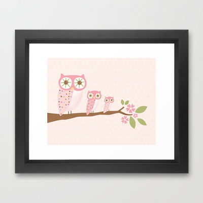 Pink Owls in a Row Framed Art Print by Holly Brooke Jones - $31.00