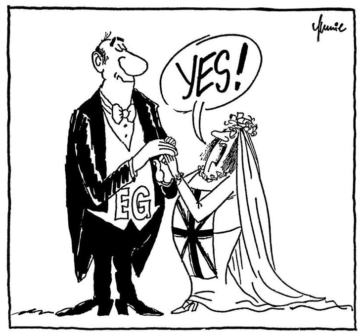 In June 1975, the German cartoonist, Mussil, refers to the victory of the 'Yes' vote in the referendum held in the United Kingdom on whether the country should remain in the European Economic Community (EEC).