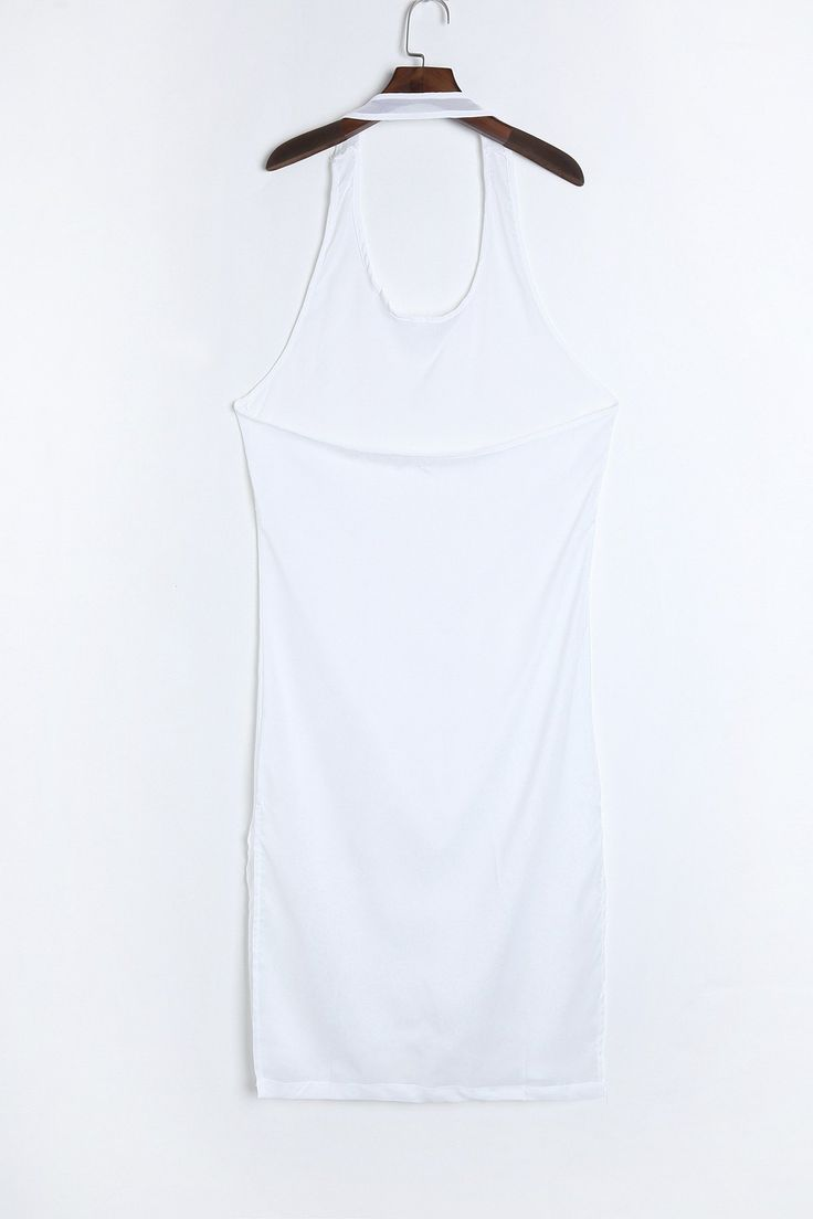 Sexy Sleeveless U Neck High Slit Backless See-Through White Dress For Women #women, #men, #hats, #watches, #belts, #fashion