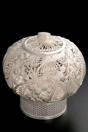 So many hours of amazing incredible silverwork in this piece. Akita Ginsen-zaiku :silverwork