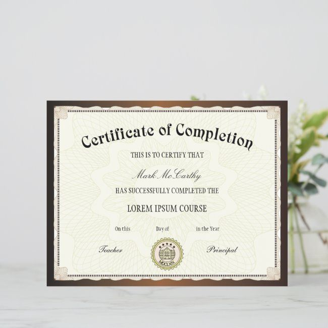Certificate Of Completion Template Zazzle Com Certificate Of Completion Template Certificate Of Completion Certificate Layout