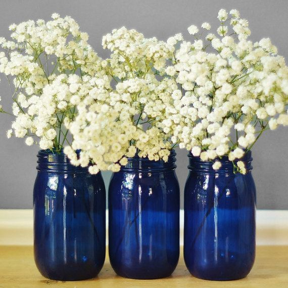 Set of Three Cobalt Blue Glass Mason Jar Vases, Cottage Chic Decor for Your Home