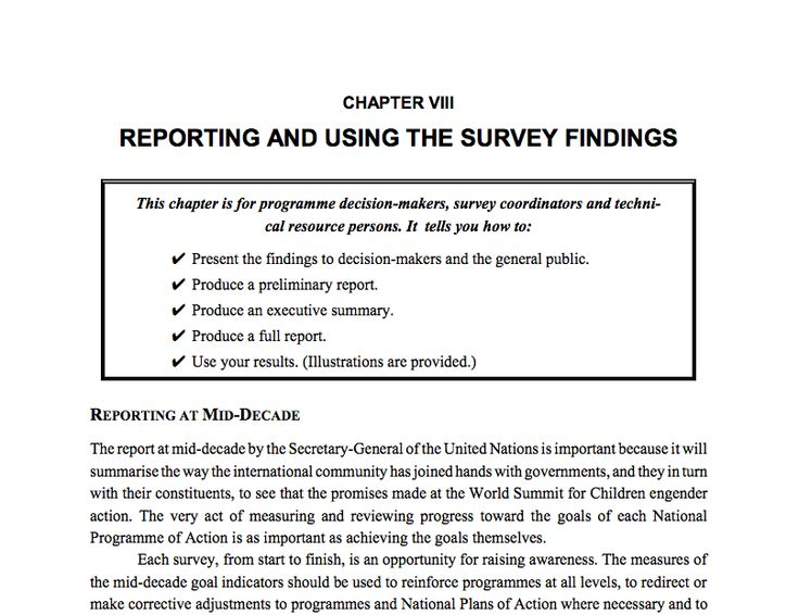 Sample Summary Of Survey Report   Teaching
