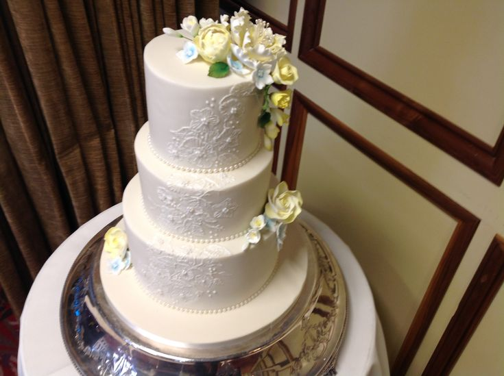 Three Tier Brush Embroidery Wedding Cake,Delivered And Setup At Morley Hayes Venue