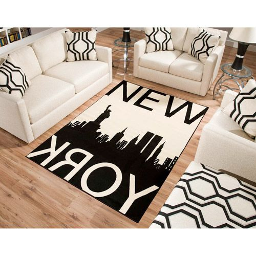 terra new york rectangle area rug blackwhite - Black And White Chairs Living Room