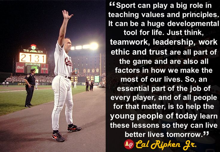 """Sport can play a big role in teaching values and ..."