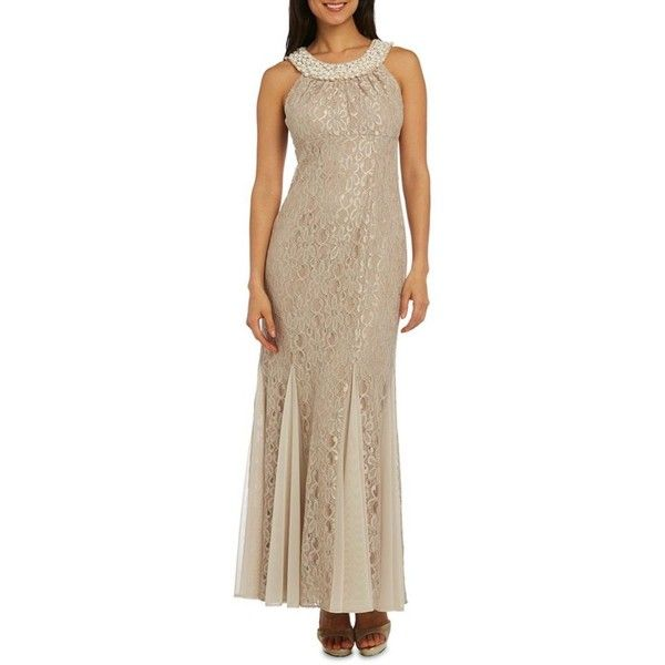 Rm Richards  Long Lace Dress With Pearl Neckline ($65) ❤ liked on Polyvore featuring dresses, gowns, champagne, long lace dress, champagne lace cocktail dress, champagne lace dress, champagne cocktail dress and champagne sparkle dress