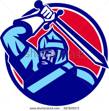 Illustration of a mongol horde warrior holding sword above head looking to the side set inside circle done in retro style.  - stock vector #knight #retro #illustration