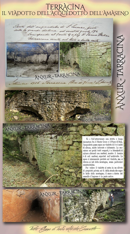 The Roman imperial viaduct of the Amaseno's aqueduct. ----  Il viadotto imperiale romano dell'acquedotto dell' Amaseno  Rif. bibl. : G. Lugli – 'Forma Italiae, Regio I, Latium et Campania, Volumen primum, Ager Pomptinus, pars prima, Anxur-Tarracina', Roma, 1926 R. Floris – 'Un acquedotto imperiale a Terracina', in 'ATTA – Urbanizzazione delle campagne nell'Italia antica', 10, 2001