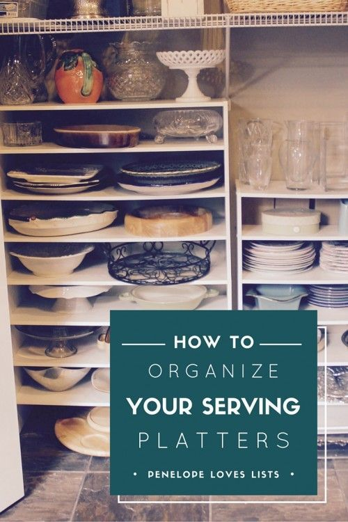 Two easy organization ideas using cheap shoe shelves to organize serving platters and doll clothes, from Penelope Loves Lists
