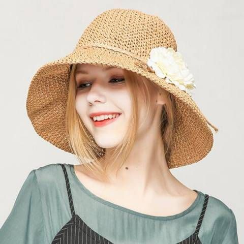 Crochet straw hat with flower for women summer beach sun hats