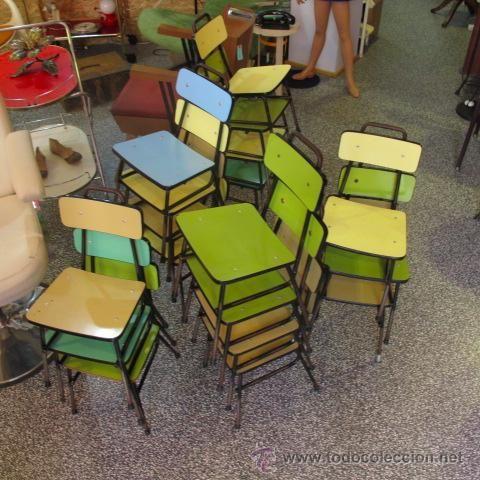 silla escolar niño vintage formica color mid century años 60 años 50 shabby chic