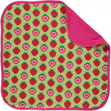 Baby blanket 70x70cm, strawberries green, Maxomorra