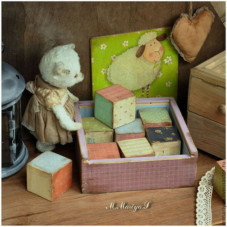 """Купить Подарочный набор деревянных кубиков """"Sheep"""" - игрушки, ретро, винтаж, горошек, деревянные игрушки"""
