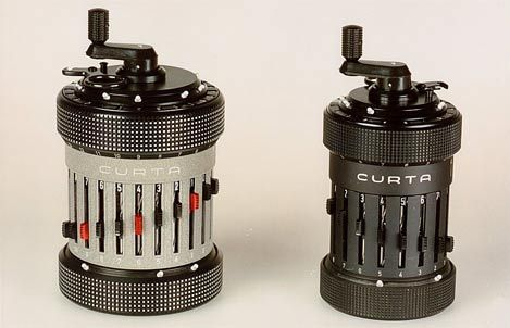 "Curta mechanical calculators. I'm reading William Gibson's ""Pattern Recognition"", and these show up."