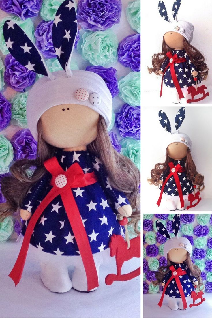 Rabbit doll Tilda doll Fabric doll toy Interior doll Art doll brown red colors…
