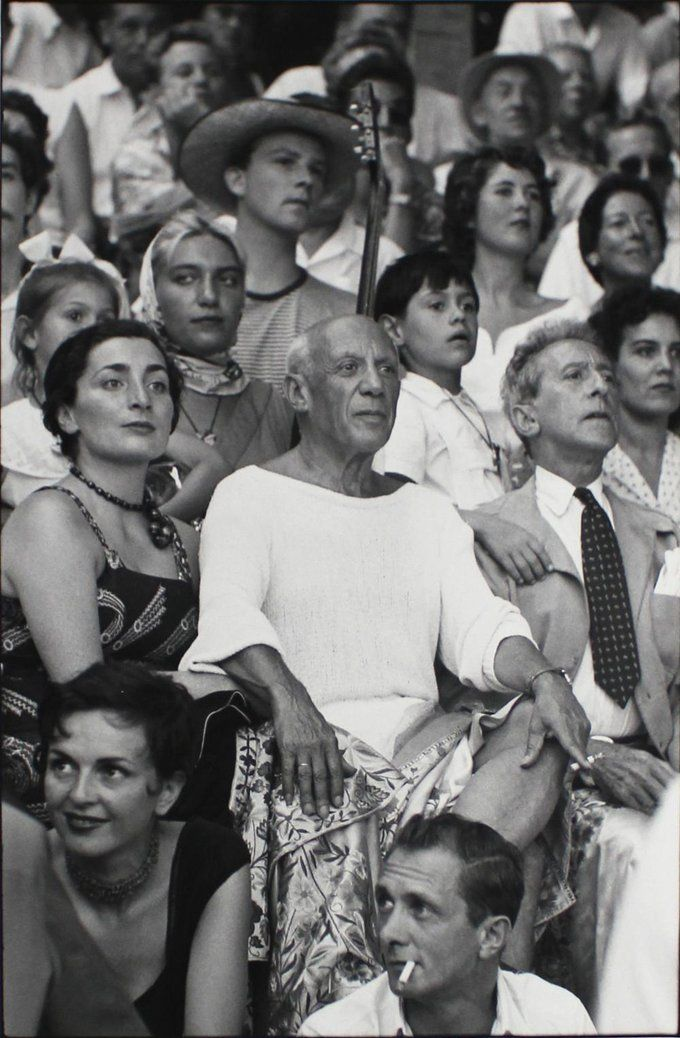 Picasso at a bullfight with Paloma, Jacqueline, Maya, Claude, and Cocteau, 1955, Brian Brake