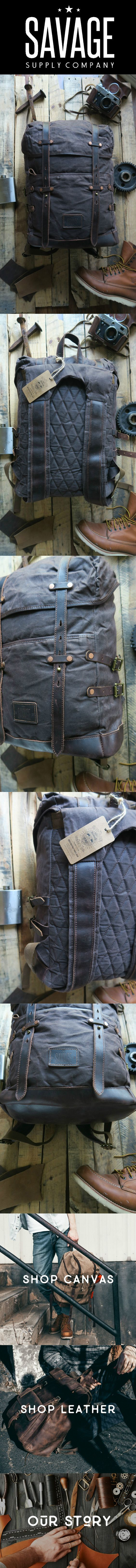 Waxed canvas adventure camping/hiking backpack.