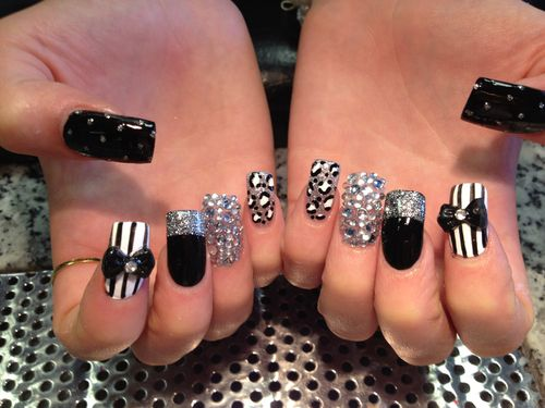 bling covered nails | Take off, new set, pattern, 2 nails covered in diamantés and 2 3D ...