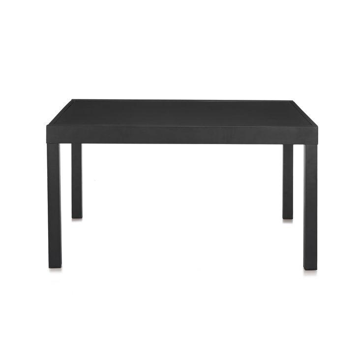 table de jardin mtal et verre extensible noir nicia les tables de jardin - Salon De Jardin Mtal Color