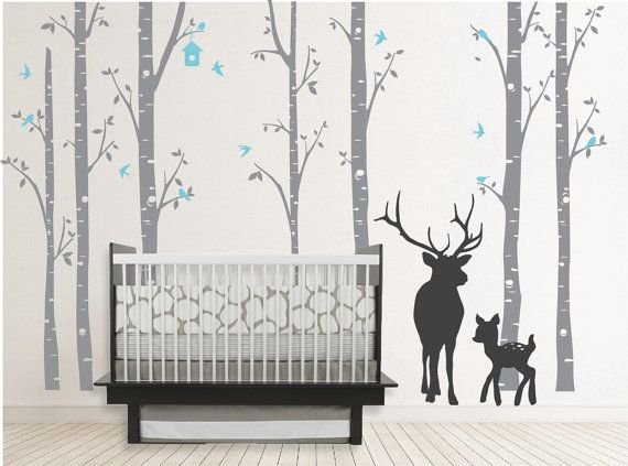Birch Decal with Buck, seven birch trees decals, Buck decal, Nursery Birch Trees,christmas deer tree decal,wall sticker,stickers