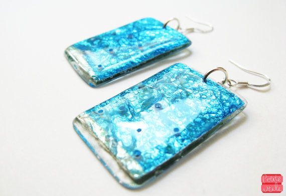 Aqua Blue Dangle Earrings Bright Rectangular by petiteutile